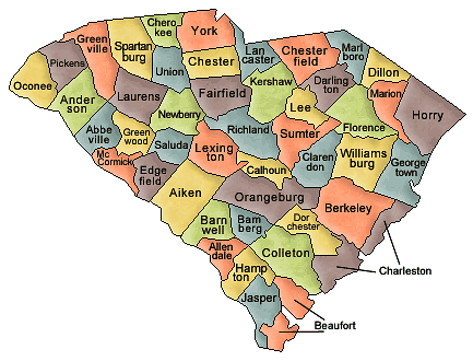 south carolina counties map