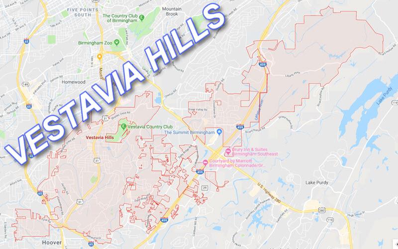 Vestavia Hills AL Map
